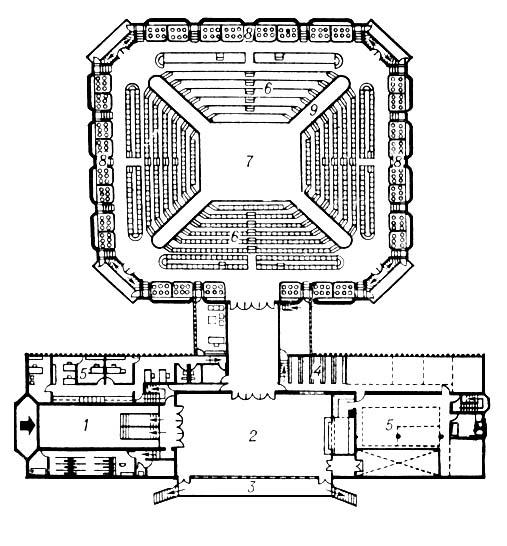 Театр «Арена Стейдж» в Вашингтоне. 1961. Архитектор Г. Уиз. План: 1 — вестибюль; 2 — фойе; 3 — терраса; 4 — гардероб; 5 — служебные помещения; 6 — амфитеатр; 7 — сцена — арена; 8 — ложи; 9 — проходы для актёров. Театр.