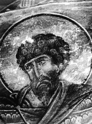 Тевдоре. Голова св. Фёдора. Фрагмент росписи церкви Квирике и Ивлиты в Сванети. 1112. Тевдоре.