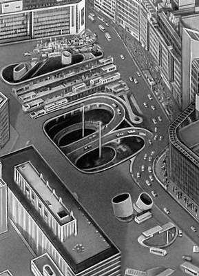 Токио. Площадь и подземная стоянка транспорта перед западным вокзалом Синдзюку. 1966. Архитектор Дж. Сакакура. Токио.