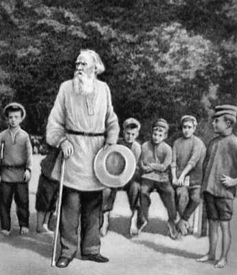 Л. Н. Толстой с группой детей крестьян Ясной Поляны. 1908. Толстой Лев Николаевич.