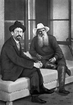 Л. Н. Толстой и А. П. Чехов (фотография С. А. Толстой). Крым. 1901. Толстой Лев Николаевич.