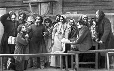 «Власть тьмы». Сцена из спектакля МХТолстой Лев Николаевич 1902. Толстой Лев Николаевич.