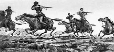 «Хаджи-Мурат». Побег Хаджи-Мурата. Работа Е. Е. Лансере. 1912—15. Толстой Лев Николаевич.