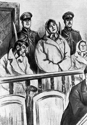 Л. Н. Толстой. «Воскресение». Маслова на суде. Илл. Л. Пастернака. 1899. Толстой Лев Николаевич.