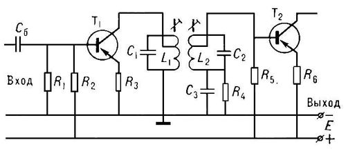 Рис. 3. Схема каскада усилителя электрических колебаний промежуточной частоты с двухконтурной колебательной системой: T<sub>1</sub>, Т<sub>2</sub> — транзисторы; R<sub>1</sub>—R<sub>6</sub> — резисторы; С<sub>б</sub> — блокировочный конденсатор; C<sub>1</sub>, C<sub>2</sub>, L<sub>1</sub>, L<sub>2</sub> — конденсаторы и катушки индуктивности колебательных контуров; C<sub>3</sub> — развязывающий конденсатор; Е — источник постоянного тока в цепи питания транзисторов. Усилитель электрических колебаний.