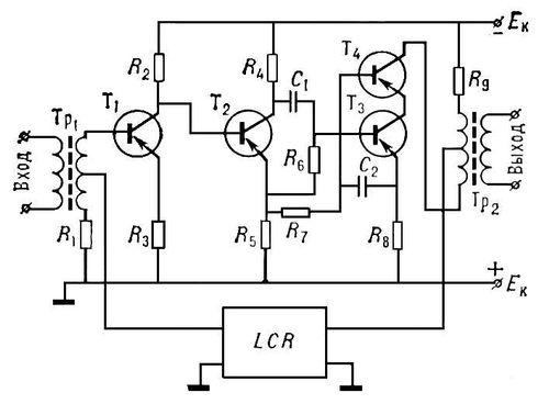 Рис. 5. Упрощённая схема линейного усилителя связи на 300 каналов: Tp<sub>1</sub>, Tp<sub>2</sub> — входной и выходной трансформаторы с сердечниками из магнитодиэлектрика; T<sub>1</sub>—T<sub>4</sub> — транзисторы; R<sub>1</sub>—R<sub>9</sub> — резисторы; C<sub>1</sub>, C<sub>2</sub> — конденсаторы; LCR — корректирующая цепь, служащая для обеспечения устойчивости усилителя; E<sub>к</sub> — источник постоянного электрического тока. Усилитель электрических колебаний.