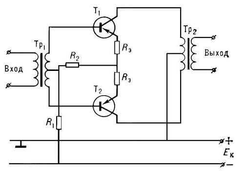Рис. 7. Принципиальная схема транзисторного двухтактного каскада: Tp<sub>1</sub>, Tp<sub>2</sub> — входной и выходной трансформаторы; T<sub>1</sub>, T<sub>2</sub> — транзисторы; R<sub>1</sub>, R<sub>2</sub> — резисторы делителя напряжения, необходимые для получения требуемого напряжения смещения на базах; Рэ — резисторы в цепи эмиттеров, предназначенные для симметрирования плеч каскада и дополнительной стабилизации режима работы каскада: E<sub>к</sub> — источник постоянного тока. Усилитель электрических колебаний.