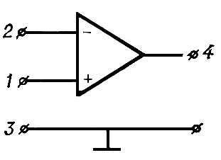 Рис. 6. Структурная схема операционного усилителя: 1 — неинвертирующий вход; 2 — инвертирующий вход; 3 — общий провод; 4 — выход. Усилитель электрических колебаний.