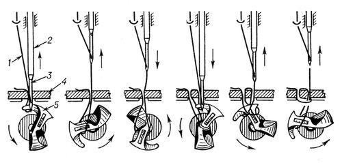 Последовательность образования однониточного стежка машиной с вращающимся петлителем: 1 — нить; 2 — игловодитель (нитепритягиватель); 3 — игла с ушком на конце; 4 — прошиваемый материал; 5 — петлитель. Цепной стежок.