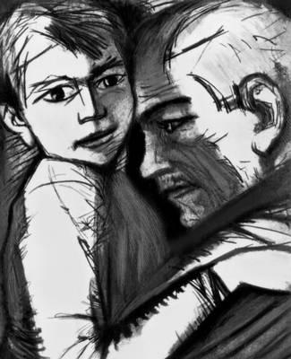 М. А. Шолохов. «Судьба человека». Фронтиспис Б. Басова. 1962. Шолохов Михаил Александрович.