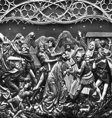 Вит Стош. «Взятие Христа под стражу». Фрагмент алтаря костёла Девы Марии в Кракове (дерево, 1477—89). Штос Фейт.