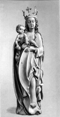 Штос Ф. «Богоматерь с младенцем». Около 1500. Германский национальный музей. Нюрнберг.  Штос Фейт.