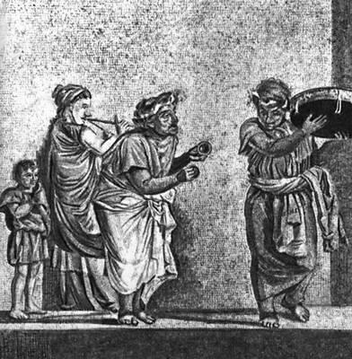 Эллинистическая культура. Диоскурид из Самоса. «Уличные музыканты». Мозаика. Кон. 2 в. до н. э. Национальный музей, Неаполь. Эллинистическая культура.